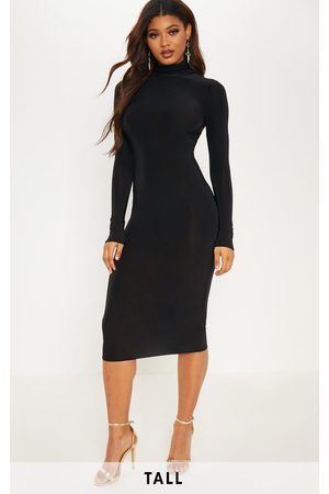 PRETTYLITTLETHING Tall High Neck Slinky Midi Dress