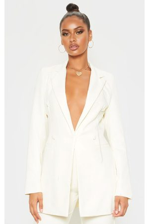 PRETTYLITTLETHING Cream Double Breasted Woven Blazer