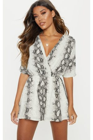 PRETTYLITTLETHING Grey Snake Print Wrap Front Playsuit