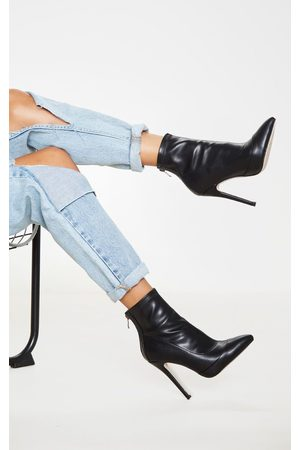 PRETTYLITTLETHING PU Pointed Ankle Sock Boots
