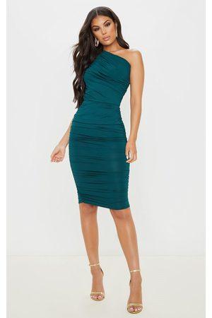PRETTYLITTLETHING Emerald Slinky Ruched One Shoulder Longline Midi Dress