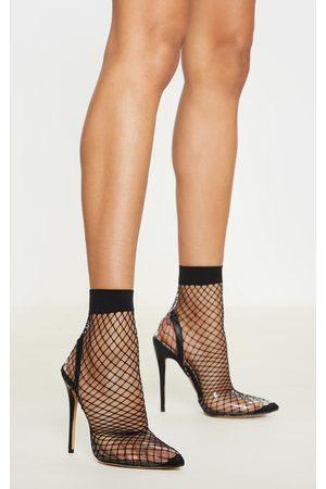 PRETTYLITTLETHING Fishnet Slingback Pointed Toe Heels