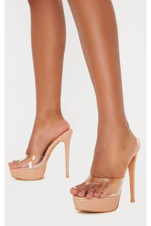 PRETTYLITTLETHING Nude High Platform Clear Mule Sandals