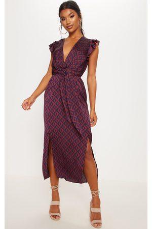 PRETTYLITTLETHING Navy Geo Print Satin Frill Shoulder Split Midi Dress