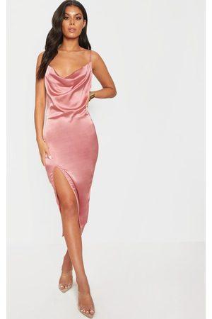 PRETTYLITTLETHING Rose Strappy Satin Cowl Midi Dress
