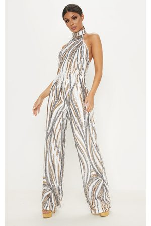 PRETTYLITTLETHING Sequin High Neck Jumpsuit