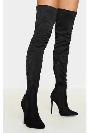 PRETTYLITTLETHING Emmi Faux Suede Extreme Thigh High Heeled Boots