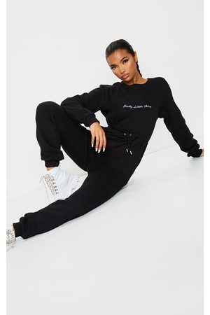 PRETTYLITTLETHING Embroidered Sweat Jumpsuit