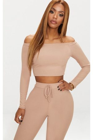 PRETTYLITTLETHING Shape Nude Ribbed Bardot Crop Top