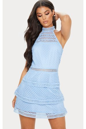 PRETTYLITTLETHING Raine Dusty Lace Panel Tiered Bodycon Dress