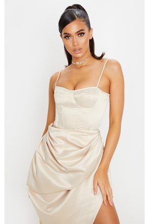 PRETTYLITTLETHING Cream Satin Woven Cup Detail Strappy Corset