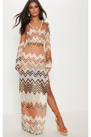 PRETTYLITTLETHING Burnt Chevron Print Lace Maxi Dress