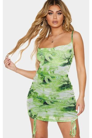 PRETTYLITTLETHING Lime Oriental Print Strappy Ruched Tie Hem Bodycon Dress