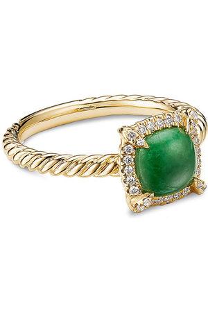 David Yurman Petite Chatelaine' diamond jadeite 18k gold bezel ring