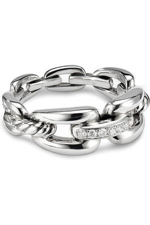 David Yurman Wellesley' diamond sterling silver chain link ring