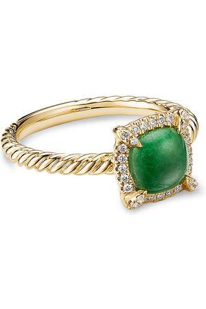 David Yurman Petite Chatelaine' diamond jadeite 18k gold pave bezel ring