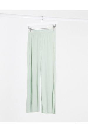 ASOS DESIGN plisse culotte pants in sage-Green