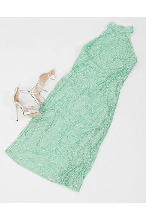 Women Midi Dresses - Pretty Lavish high neck sequin midi dress in mint-Green