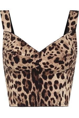 Dolce & Gabbana Leopard-print stretch-silk bustier