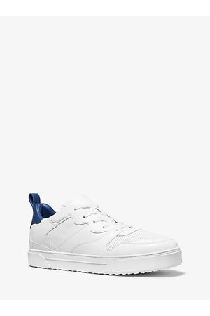 Michael Kors MK Baxter Two-Tone Leather Lace-Up Sneaker - Optic - Michael Kors