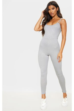 PRETTYLITTLETHING Rib Double Strap Jumpsuit