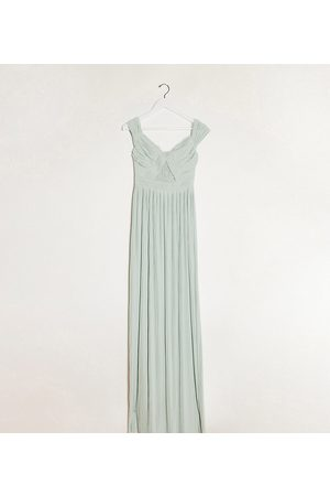 ASOS DESIGN Tall premium lace and pleat bardot maxi dress in sage-Beige