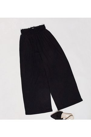 ASOS DESIGN Tall culotte pant with shirred waist-Black