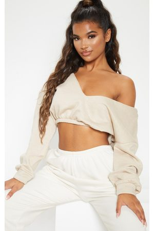 PRETTYLITTLETHING Sand Crop Off Shoulder Sweater