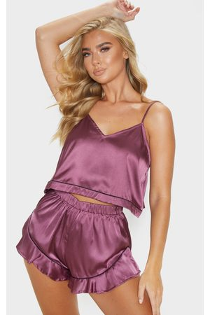 PRETTYLITTLETHING Berry Piping Detail Cami Short Pj Set