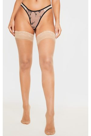 PRETTYLITTLETHING Nude Lace Top Sheer Hold Ups