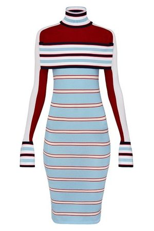 LOUIS VUITTON Women Knitted Dresses - Striped Turtle Neck Knit Dress With Band