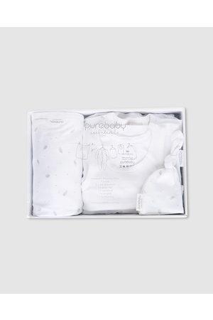 Purebaby Newborn Hospital Pack - Wraps & Blankets (Pale Leaf with Spot) Newborn Hospital Pack