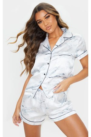 PRETTYLITTLETHING Marble Satin Short Pj Set