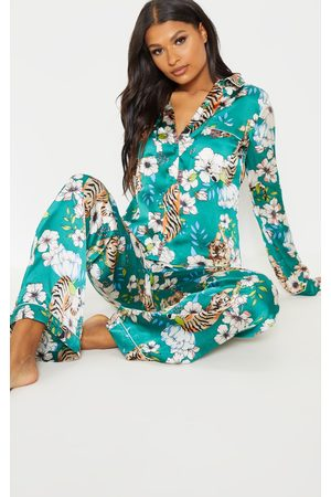 PRETTYLITTLETHING Emerald Tiger Blossom Wide Leg Satin PJ Set
