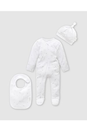 Purebaby Sets - 3 Piece Set Babies - Bibs (Pale Leaf with Spot) 3-Piece Set - Babies