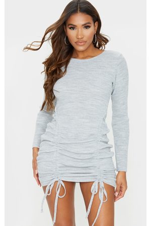 PRETTYLITTLETHING Long Sleeve Ruched Knitted Dress