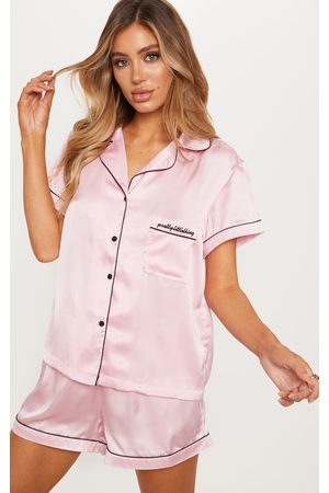PRETTYLITTLETHING Short Satin Pocket PJ Set