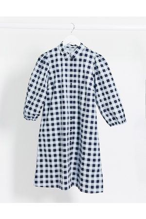 Pieces smock shirt dress with puff sleeves in blue gingham check-Multi