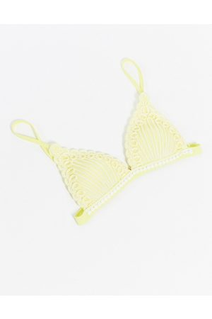 River Island Moulded triangle textured bikini top in yellow