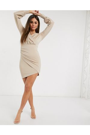 Ivyrevel ruched wrap front pencil dress in beige