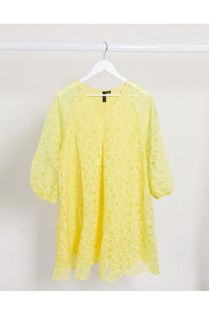 Y.A.S smock dress with puff sleeves in yellow floral-Multi