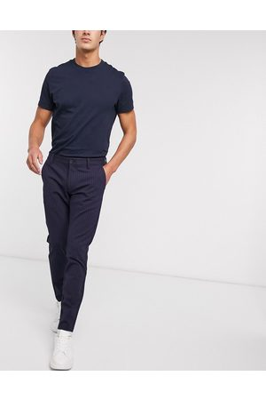 Only & Sons stretch smart pant in navy pinstripe