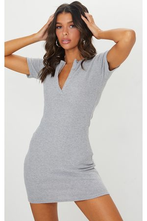 PRETTYLITTLETHING Marl Brushed Rib Short Sleeve Button Front Bodycon Dress