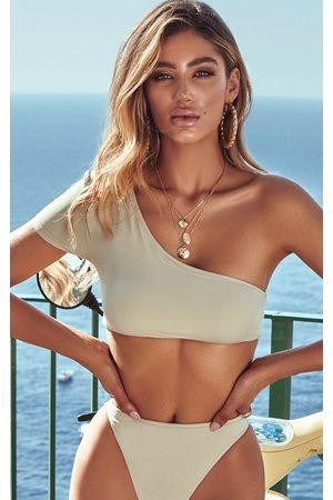 PRETTYLITTLETHING Sage One Shoulder Sleeve Bikini Top