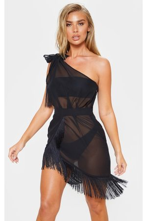 PRETTYLITTLETHING Asymmetric Fringe Beach Dress