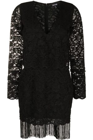 Roberto Cavalli Women Printed Dresses - Lace pattern fringed dress