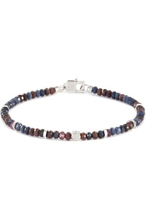 Tateossian Blue and red sapphire silver disc bead bracelet