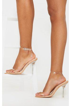 PrettyLittleThing Nude Clear Heel Single Strap Sandal