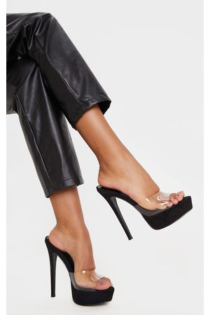 PRETTYLITTLETHING High Platform Clear Mule Sandals