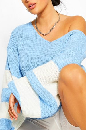 Boohoo Plus V Neck Stripe Jumper